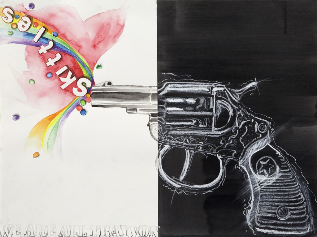 "We Are All Trayvon, Watercolor, acrylic and chalk on paper, 31"" X 25"" (framed)."