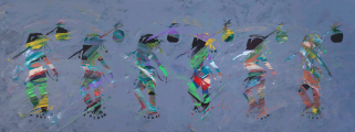 "<h5>Children of His Majesty</h5><p>Acrylic on canvas, 29"" X 78"".																																																																																																																																																																																											</p>"