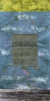 "<h5>Almost Horizontal</h5><p>Acrylic, papyrus and sand on Japanese and Thai papers. 52"" x 26"".																																																																				</p>"