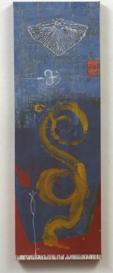 "<h5>Snake Goddess</h5><p>Collection of  Sarah and Ken Goldblatt, New York. 52"" X 36"" Acrylic on canvas.																																		</p>"
